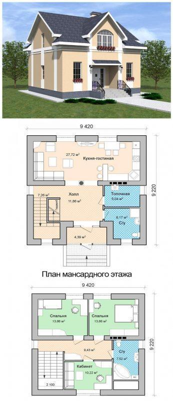 Проект дома с мансардой уютный